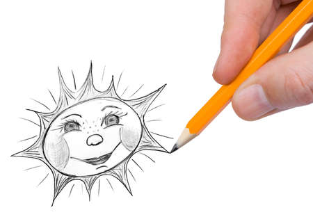 picture person: Hand painting sun isolated on white background Stock Photo