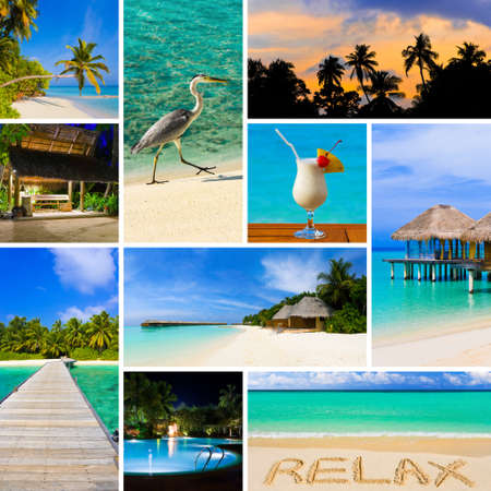caribbean sea: Collage of summer beach maldives images - nature and travel  Stock Photo