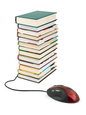 Computer mouse and books isolated on white background Stock Photo - 15552008
