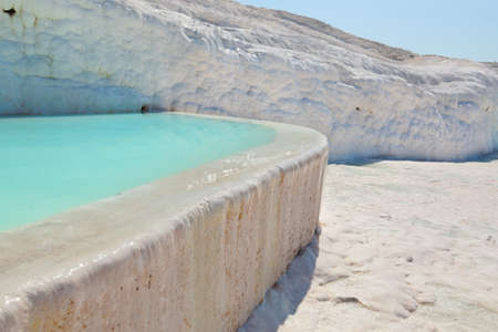Travertine pools and terraces - Pamukkale Turkey Stock Photo - 15552015