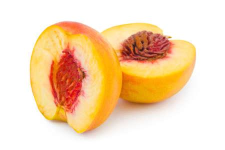 Ripe peach fruit isolated on white background photo