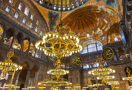 chandeliers: Mosaic interior in Hagia Sophia at Istanbul Turkey - architecture background Editorial