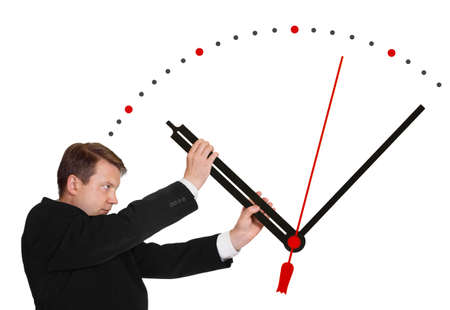 clock hands: Business man stop time isolated on white background Stock Photo