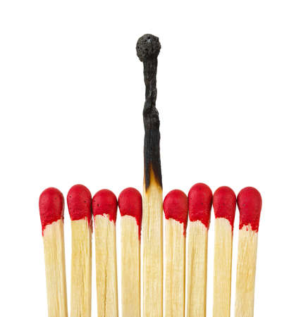 Matches - leadership or inspiration concept isolated on white background photo