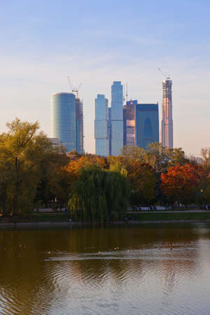 Modern skyscrapers at Moscow City Russia - construction background photo