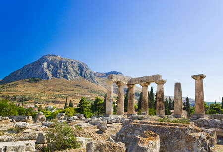 Ruins of temple in Corinth, Greece - archaeology background Stock Photo