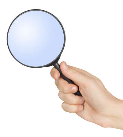 magnifying glass man: Magnifying glass in hand isolated on white background