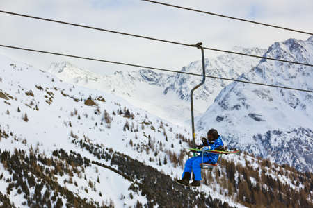 Cableway at mountains ski resort Solden Austria - nature and sport background photo