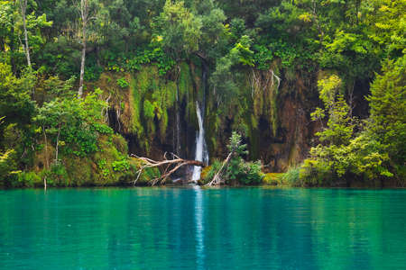 background waterfalls: Plitvice lakes in Croatia - nature travel background