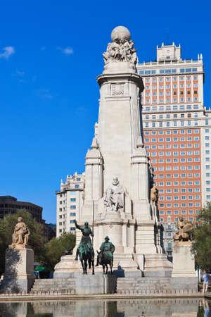 Don Quixote and Sancho Panza statue on Plaza de Espana - Madrid Spain
