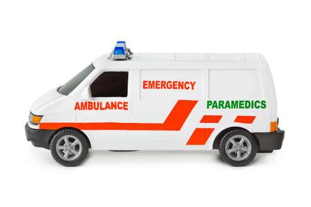 Toy ambulance car isolated on white background photo