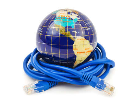 Globe and internet cable isolated on white background photo