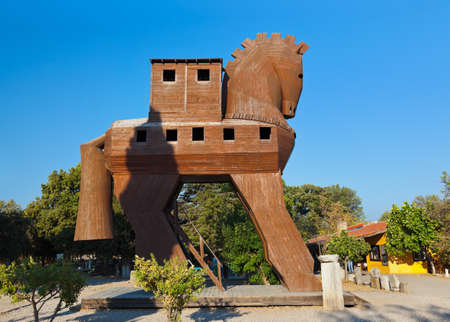 substructure: Trojan Horse at Troy Turkey - travel background