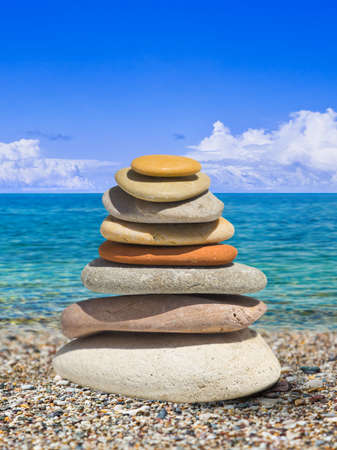 Stack of stones on beach - nature background Stock Photo - 15694591