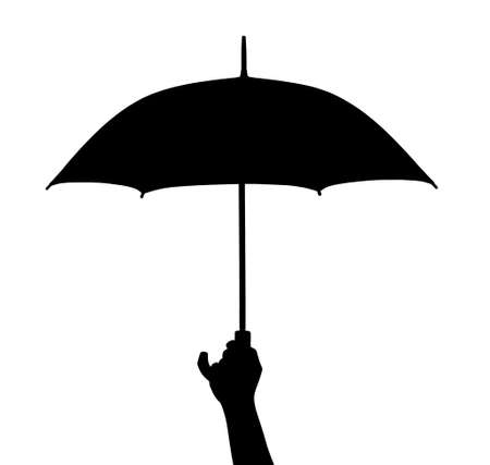Hand with umbrella isolated on white background Stock Photo - 15694579