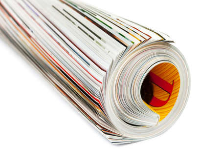 periodical: Roll of magazine isolated on white background