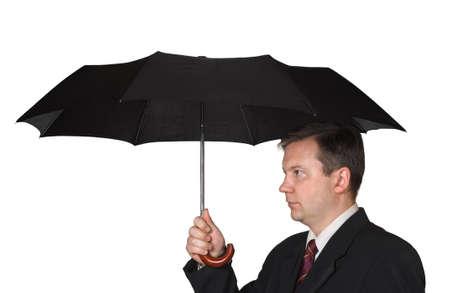 Men and umbrella isolated on white background Stock Photo - 15752165