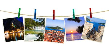 sunset lake: Croatia photography on clothespins isolated on white background