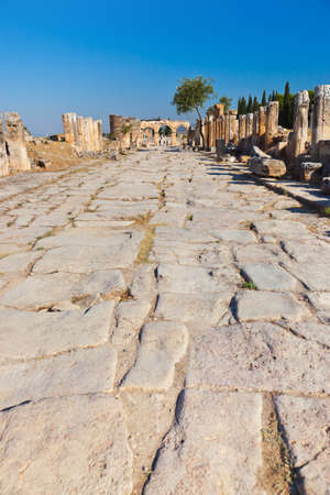 travertine house: Old ruins at Pamukkale Turkey - architecture background
