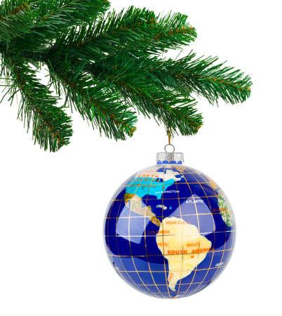 Globe and christmas tree isolated on white background