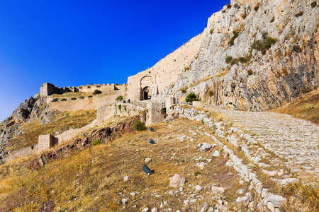 peloponnese: Old fort in Corinth, Greece - archaeology background