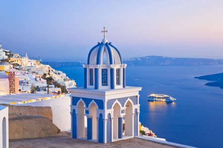 Santorini sunset  Firostefani  - Greece vacation background photo