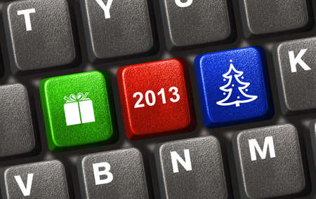 Computer keyboard with Christmas keys - holiday concept Stock Photo - 15929472