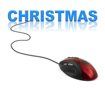 Computer mouse and Christmas - holiday concept photo
