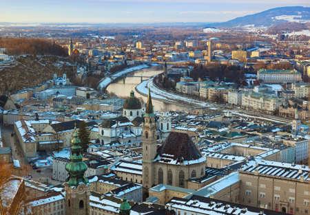 Salzburg Austria at sunset - architecture background photo
