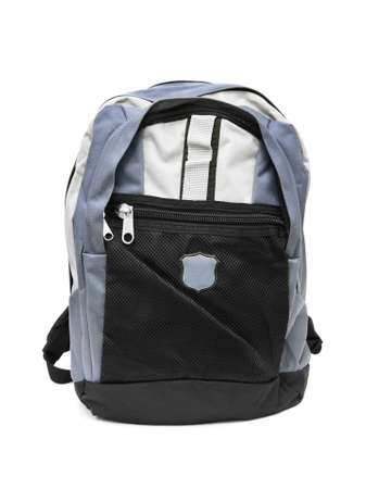 school things: Backpack isolated on white background Stock Photo