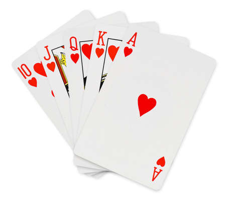ace hearts: Playing cards - isolated on white background