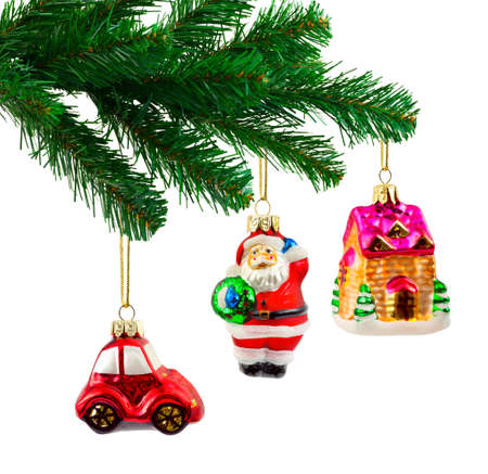 Christmas tree and toys isolated on white background photo