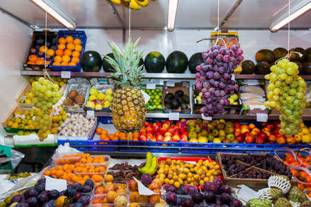 Fruits in shop - food background photo