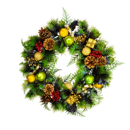 Christmas wreath isolated on white background Stock Photo - 15990566
