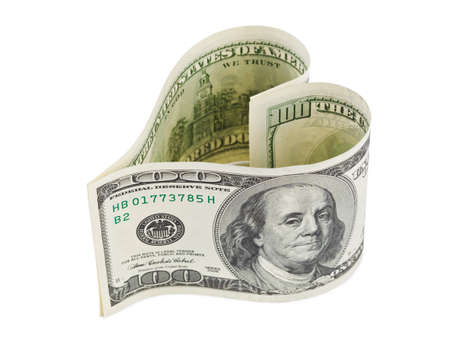 prostitution: Money heart isolated on white background