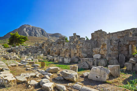 Ruins in Corinth, Greece - archaeology background photo