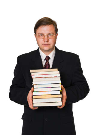 Man with stack of books isolated on white background photo
