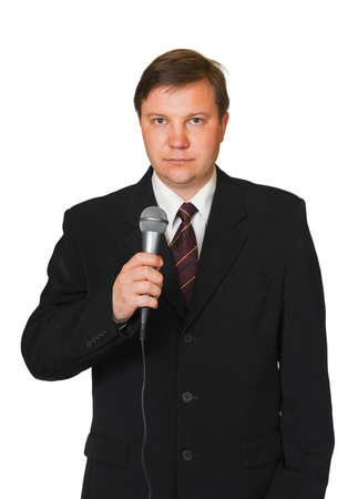 Journalist with microphone isolated on white background photo