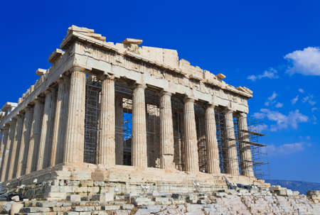 athens: Parthenon temple in Acropolis at Athens, Greece - travel background