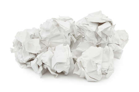 paper basket: Heap of crumpled paper isolated on white background Stock Photo