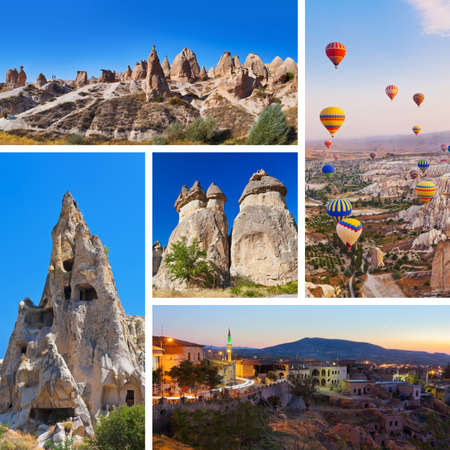 Collage of Cappadocia Turkey images - nature and tourism background  my photos  Editorial