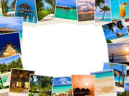 Frame made of summer beach maldives images - nature and travel background Stockfoto