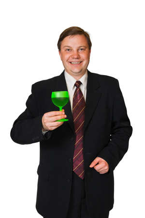 Man with wine glass isolated on white background photo