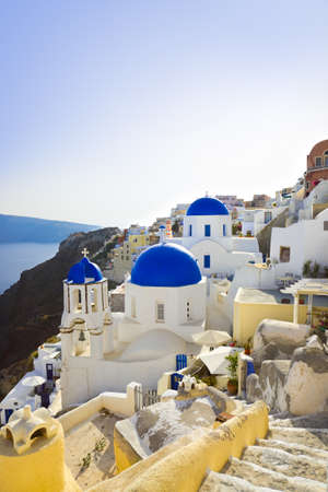 Santorini church  Oia , Greece - vacation background photo