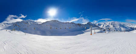 Mountain skigebied Hochgurgl Oostenrijk - natuur en sport achtergrond Stockfoto