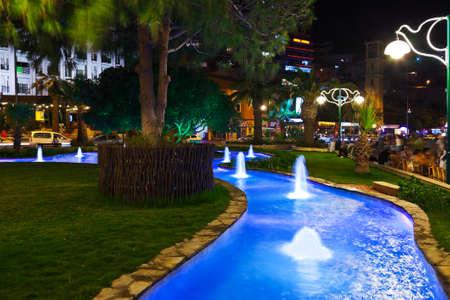 turkey beach: Night view of Kusadasi Turkey - travel background