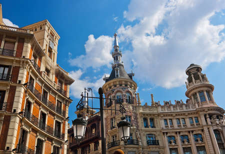 Street and houses at Madrid Spain - architecture background Stock Photo - 16304170