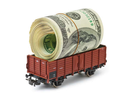 Train with money isolated on white background photo