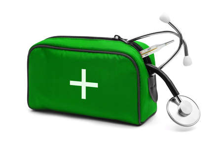 first aid kit: First aid kit isolated on white background Stock Photo