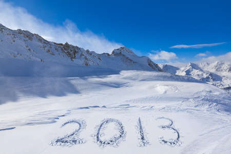 tirol: 2013 on snow at mountains - Hochgurgl Austria - nature and sport background Stock Photo